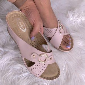 Italina Pink Silver Rhinestone Wedge Slide Sandal